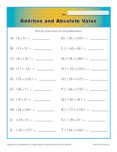 Addition and Absolute Value