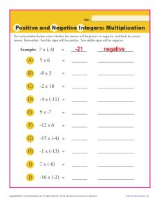 Worksheets Positive And Negative Integers Worksheets positive and negative integers multiplication integer worksheets math worksheets