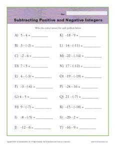 Worksheets Positive And Negative Integers Worksheets subtracting positive and negative integers integer worksheets math worksheets