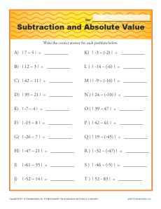 Worksheet Absolute Value Worksheets subtraction and absolute value printable math worksheets value