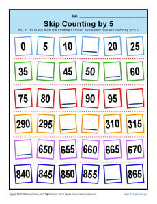 Skip Counting by 5s Worksheets | 2nd Grade Math