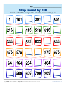 Skip Counting by 100 Worksheets | 2nd Grade Math Activities