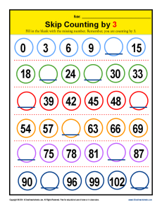 Skip Counting by 3s Worksheets | 2nd Grade Math Practice