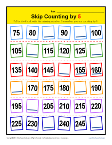 Math Skip Counting by 5 Practice Worksheet
