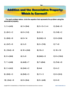Associative property of multiplication worksheets fourth grade