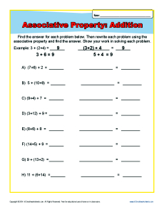 Addition Associative Property Worksheets for 1st and 2nd Grade