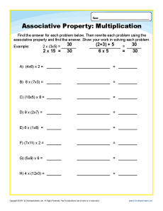 Printables Multiplication Properties Worksheet multiplication associative property worksheets for 3rd grade worksheet problems