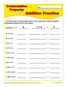 Printables Commutative Property Of Addition Worksheets 3rd Grade commutative property of multiplication worksheet abitlikethis addition worksheets property
