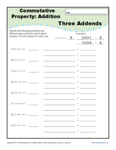 commutative property addition worksheets for 1st and 2nd grade. Black Bedroom Furniture Sets. Home Design Ideas