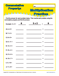 Printables Commutative Property Of Addition Worksheets 3rd Grade multiplication commutative property worksheets for 3rd grade worksheet problems