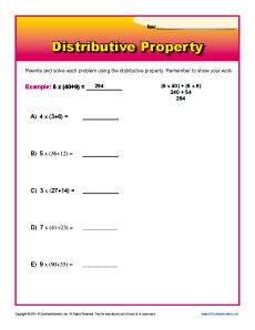 Worksheets Math Worksheets Distributive Property distributive property 3rd grade math worksheets worksheet problems
