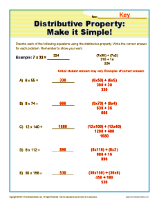 math worksheet : distributive property make it simple  3rd grade math worksheets : Property Division Worksheet