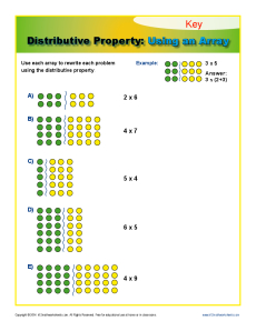 math worksheet : distributive property using an array  3rd grade math worksheets : Multiplication Using Arrays Worksheet