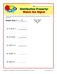 math worksheet : distributive property watch the signs  6th 7th grade worksheets : Distributive Property Multiplication Worksheet