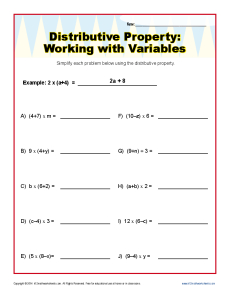 Printables Math Worksheets Distributive Property distributive property with variables worksheets 6th and 7th grade math worksheets