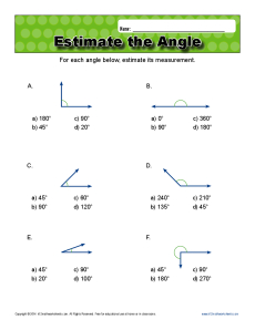 math worksheet : estimate the angle  4th grade geometry worksheets : Estimating Math Worksheets