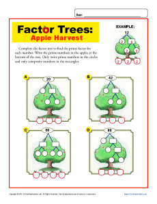 Worksheets Factor Trees Worksheets apple harvest math factor tree worksheets for 4th grade worksheet