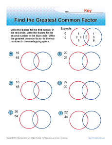 Printables Greatest Common Factor Worksheet find the greatest common factor 6th grade math worksheets worksheets