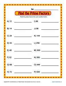 Prime Factor Worksheets