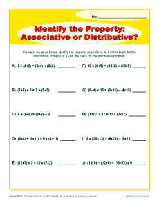 Printables Identifying Algebraic Properties Worksheet distributive homework property worksheet printables identifying algebraic properties associative or rd grade