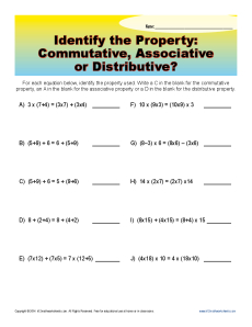 Worksheets Identifying Algebraic Properties Worksheet commutative associative or distributive 3rd grade math worksheets