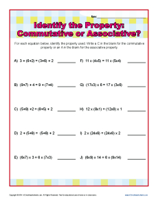 Printables Identifying Algebraic Properties Worksheet commutative or associative property 3rd grade math worksheets worksheets