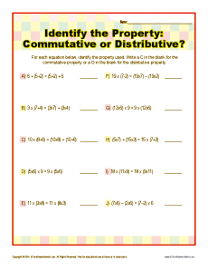 math worksheet : commutative or distributive property  3rd grade math worksheets : Distributive Property Of Multiplication Worksheets 3rd Grade