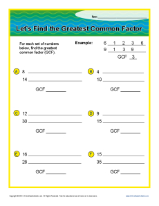 Greatest Common Factor | 6th Grade Factor Worksheets