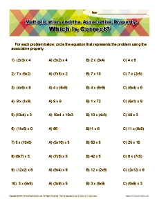 Printables Math Properties Worksheet multiplication and the associative property 3rd grade worksheet math worksheets