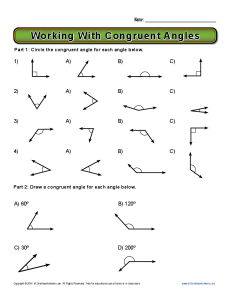 working with congruent angles  th grade geometry worksheets