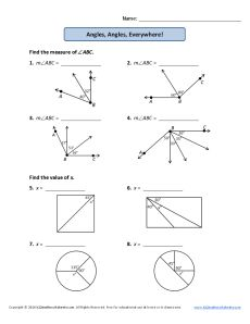 Measuring Angles Worksheet 4th Grade Geometry