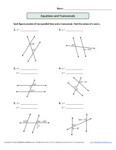 Parallel Lines and Transversals Worksheet| Equations and Transversals
