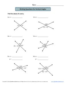 Writing Equations for Vertical Angles | 7th Grade Geometry Worksheets
