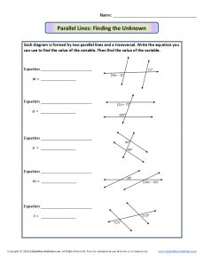 Printables Parallel Lines Cut By A Transversal Worksheet parallel lines and transversal worksheet davezan transversals finding the unknown