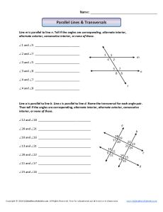 Parallel Lines & Transversals | 8th Grade Geometry Worksheets