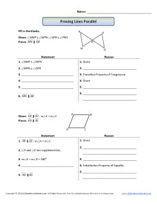 Proofs Involving Parallel Lines Practice - MathBitsNotebook(Geo ...
