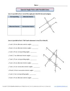 Parallel Lines and Transversals Worksheet| Using Properties