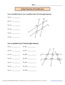 Using Parallel Lines and Transversals Worksheet| Using Properties