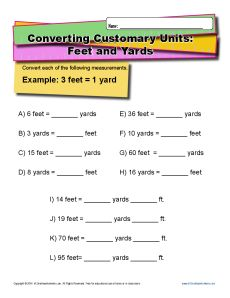 U.S. Customary Unit Conversion Worksheets