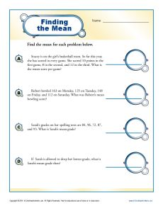 Mean Median Mode Worksheets | Finding the Mean